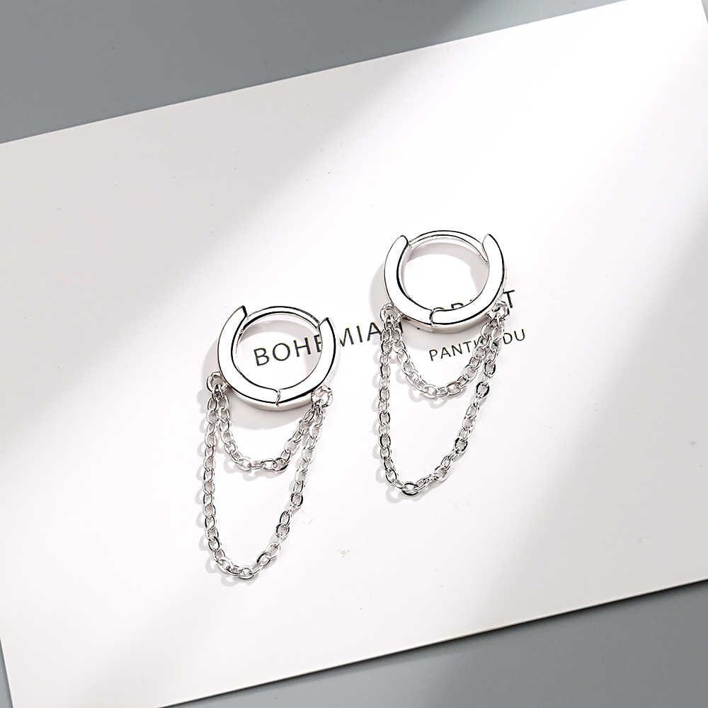 925 فضة الشرابة سلسلة القرط أناقة صديقة هدية حلي فضية جميلة مزدوجة قطرة سلسلة تشيكوسلوفاكيا أقراط للأذن من الفضة
