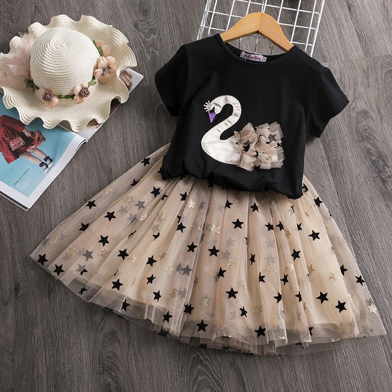 Girls Dress 2020 New Brand Summer Princess Girl Bling Star Flamingo Dress 2pcs Set Children Clothing Unicorn Dresses  2 7Y