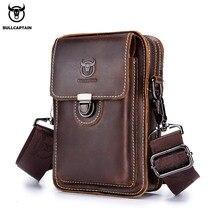 BULLCAPTAIN çılgın at deri erkek bel paketi telefon kılıflı çanta bel çantası erkekler küçük göğüs omuz bel çantası arka pack075