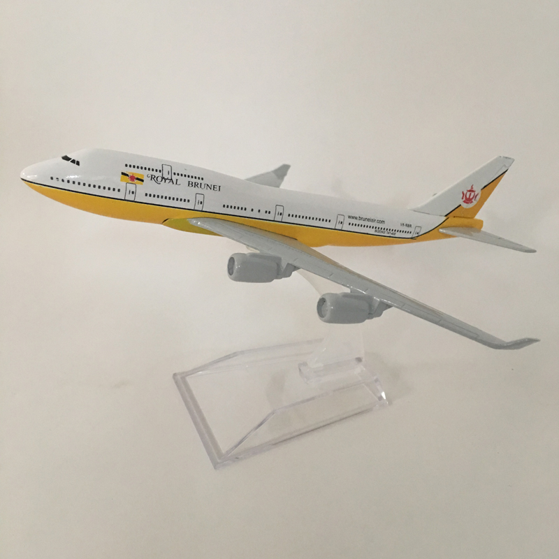 16cm Royal Brunei Airlines Boeing 747  Metal Diecast Aircraft Plane Model Toy