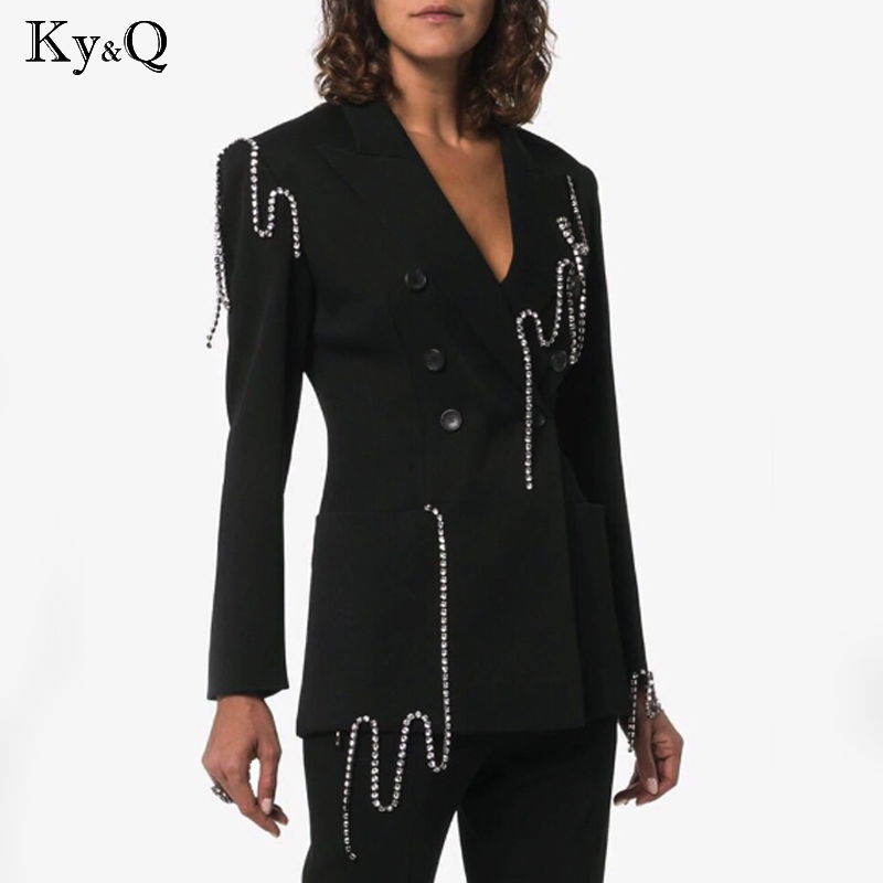 2020 High Quality Autumn New Arrive Black Color Women Play Suits Full Sleeve Women Manual Nail Drill Clothing