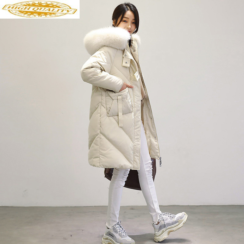 2020 White Duck Down Jacket Women Hooded Real Fox Fur Collar Korean Long Coat Female Puffer Jacket Warm 1777 KJ2893