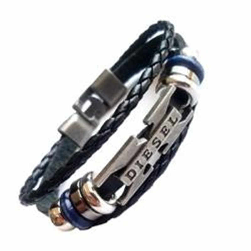 Multilayer Bracelet Men Casual Fashion Braided Leather Bracelets For Women Wood Bead Bracelet Punk Rock Men Jewelry