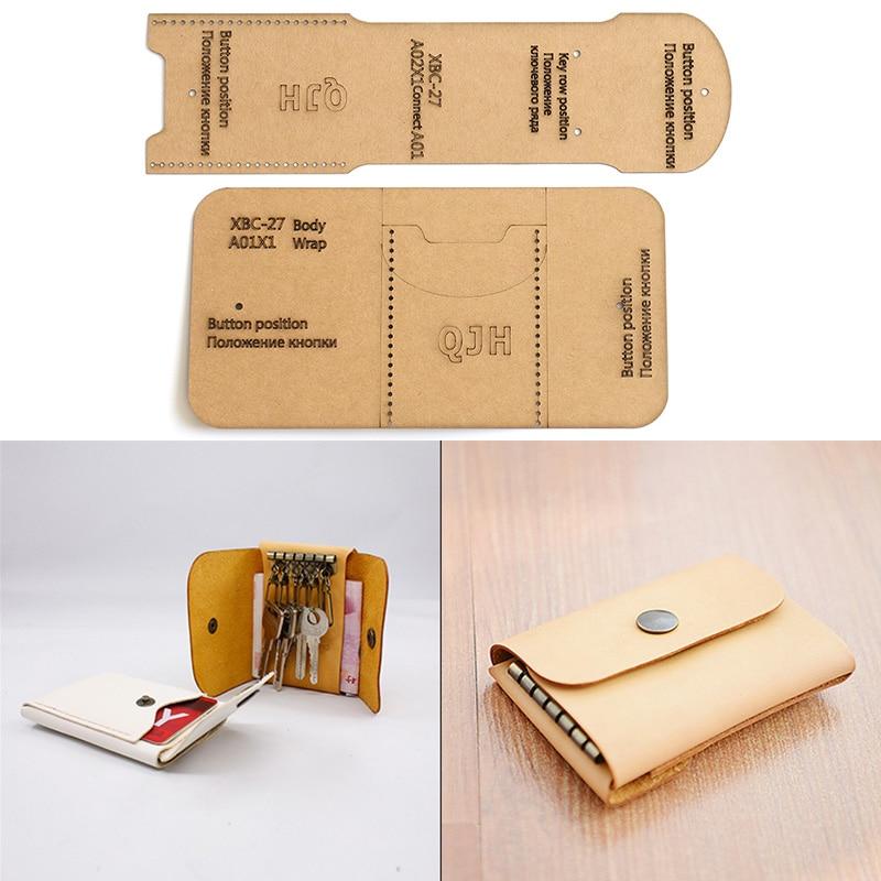 1 Set DIY Leather Handmade Coin Purse Key Case Sewing Pattern Hard Kraft Paper Stencil Template 4cm*24.5cm