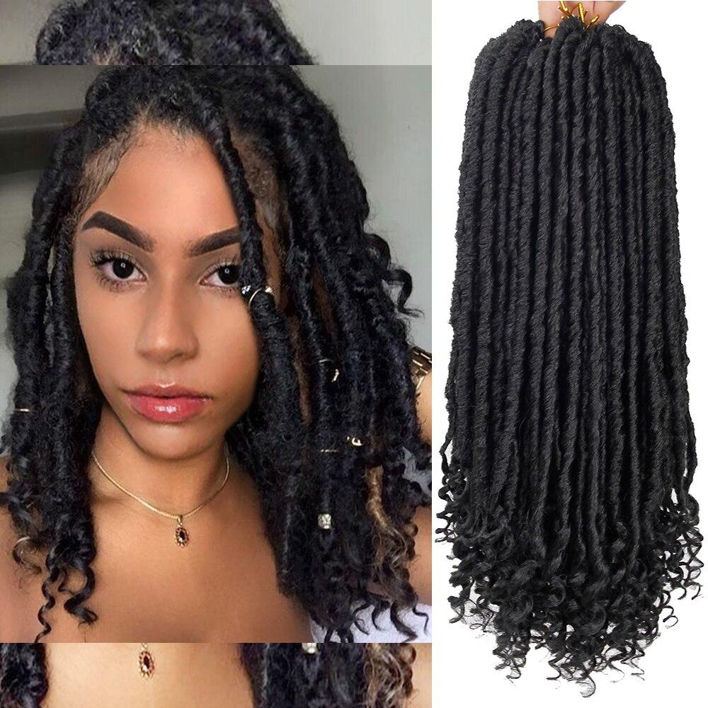 YxCheris Goddess Hair Ombre Faux Locs Crochet Hair Braids18inches Soft Natural Braid Synthetic Braiding Hair Extension