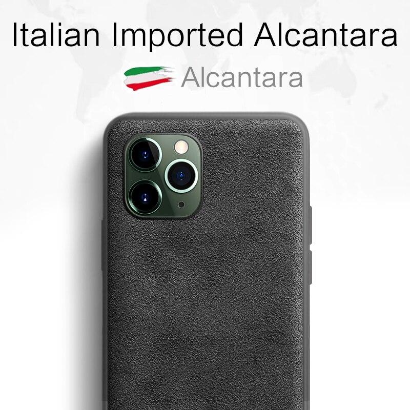 SanCore Phone Case for iPhone 11 Pro Max Case Leather fashion ALCANTARA Business TPU Phone Bag