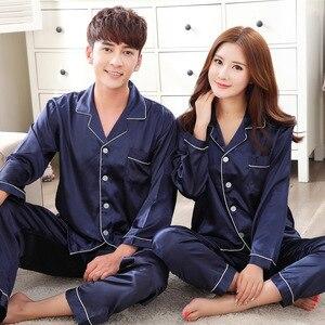 Image 3 - Black Men Nightwear Shirt Pants Sleep Pajamas Sets Long Sleeve Sleepwear Spring Autumn Silky Nightgown Robe Clothes L XXXL