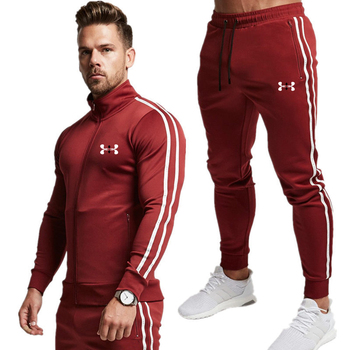 2020 New Striped Tracksuit Men's Solid Sets Casual Sports Suit Spring Autumn Men Sportswear Zipper Hoodie+Pants Training Suit spring and autumn new men s suit sportswear zipper pocket casual sportswear running fitness men s brand suit
