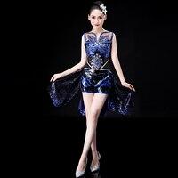 New Ladies Jazz Dance Costume Fashion Sexy Sequin Costume Modern Dance Skirt Square Dance Set Vestidos De Fiesta De Noche
