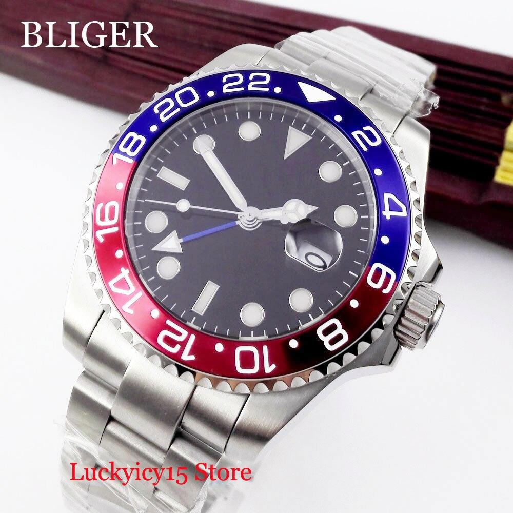 BLIGER Mechanical Men's Watch Automatic Date Window Sapphire Crystal 40mm Silver Watch Case Stainless Steel Bracelet