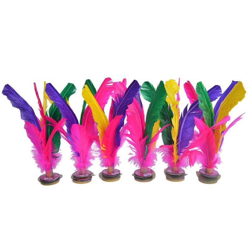 6pcs Colorful Feathers Kick Shuttlecock Chinese Jianzi Foot Sports Outdoor Toy Game