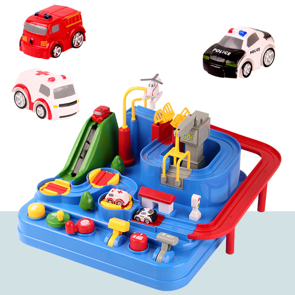 Kids Birthday Toys for 4 5 6 7 9 Year Old Boys Girls Christmas New Year Car Adventure Game Rescues Toy Race Tracks for Boys Car Adventure Toys City Rescue Engineering Vehicles Car Track Playsets