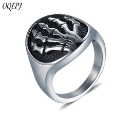 OQEPJ Neo-Gothic Skull Hand Rings 316L Stainless Steel High Quality Silver Color Men Cool jewelry Never Fade Ring Hot Sale