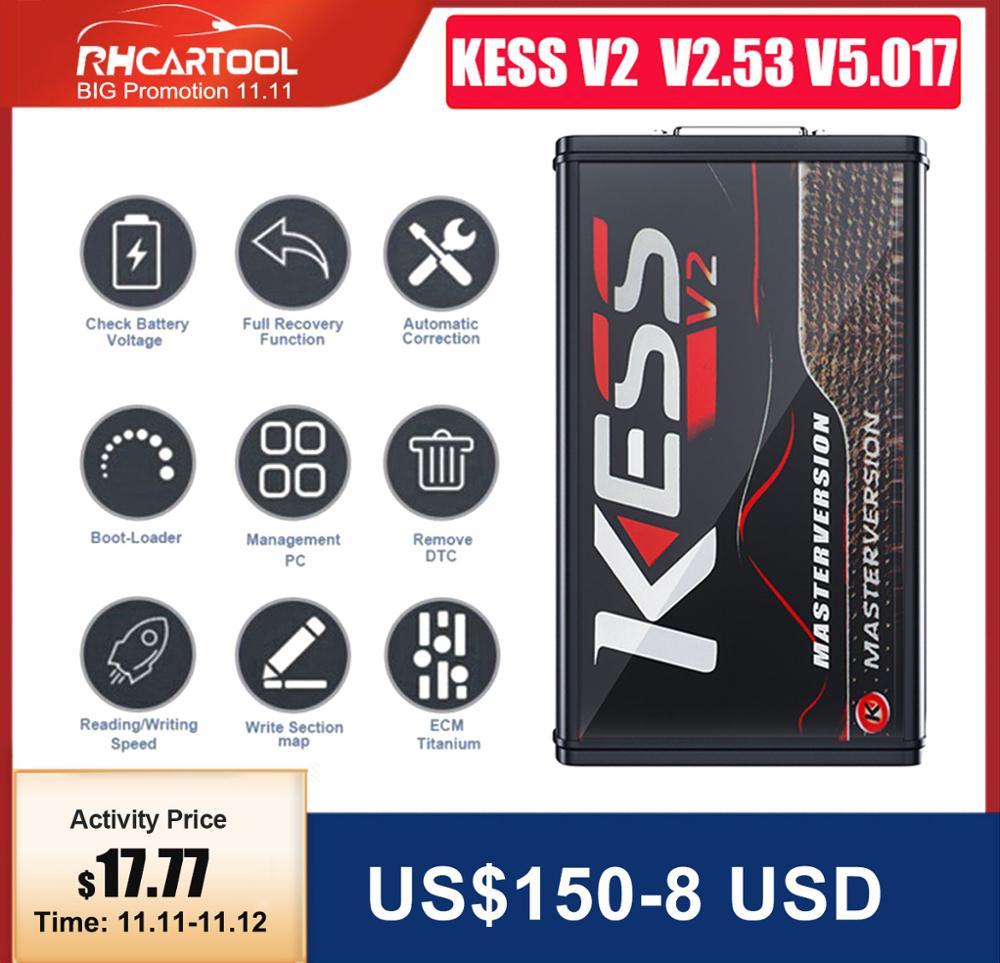 Online V2 53 EU Red Kess V5 017 OBD2 Manager Tuning Kit KTAG V7 020 4 LED Kess V2 5 017 BDM Frame K-TAG V2 25 ECU Programmer