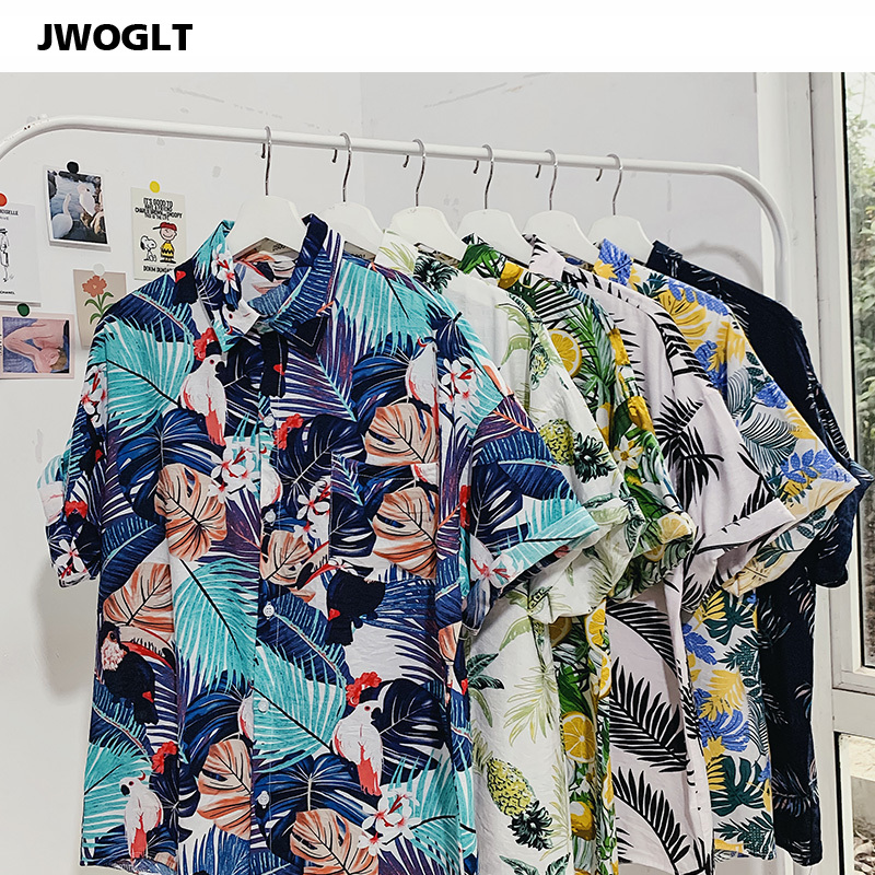 25 Styles Summer Fashion Printed Men's Loose-Fit Short Sleeve Tropical Hawaiian Shirts