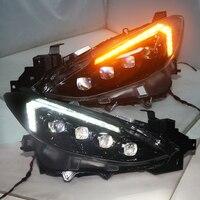 Full led headlight Assemble For MAZDA 3 Axela 2014 2016 LED Head Lamps for Mustang style Moving LED turning light