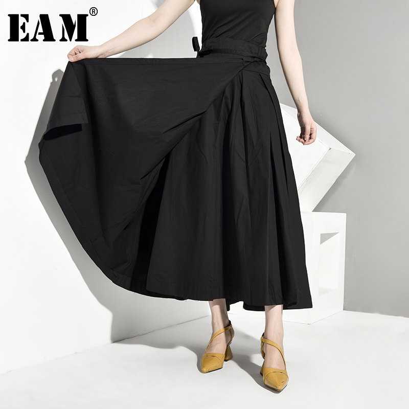 [EAM] High Waist Black Bandage False Two Spliced Loose Half-body Skirt Black Women Fashion Tide New Spring Autumn 2019 JR4780