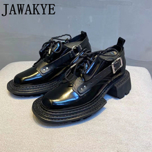 casual british style vintage thick soles platform shoes retro female harajuku lace up flat leather shoes college woven creepers British Thick sole Casual flat shoes for women Black Leather belt buckle lace up Ladies Shoes luxury Runway Platform Shoes woman