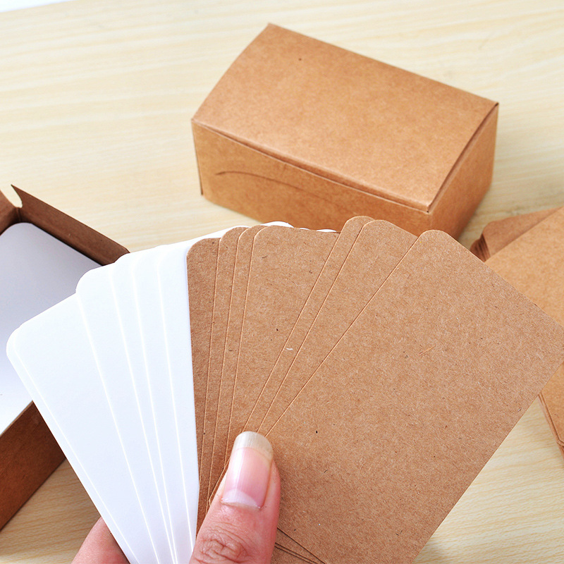 100pcs/lot Pure Color Cards Creative Mini Kawaii Memo Pads Kraft Paper Leave A Message Office Decoration Post It Sticky Notes
