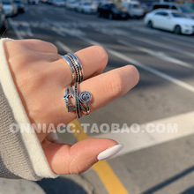 Smiley Braided Multi-layer Cross Rhinestone Ring Female Index Finger Opening S925 Sterling Silver Thai Silver Retro fuzzy multi objective multi index transportation problem