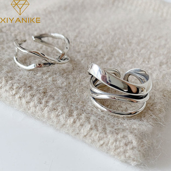 XIYANIKE 925 Sterling Silver Vintage Cross Winding Finger Rings for Women Couple Minimalist Party Jewelry Gift Prevent Allergy 1