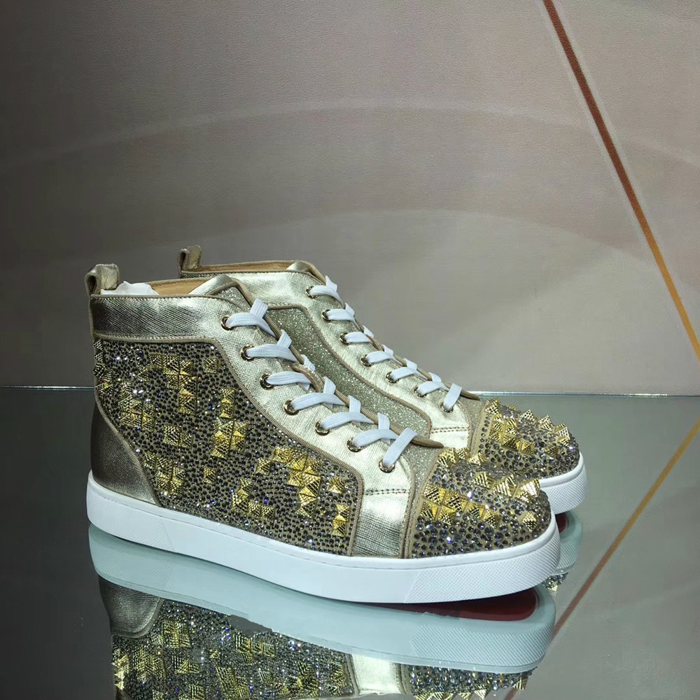 Mens Leather Classic Lace Up Rubber Sole Bling Bling High Top Sports Rivet Shoes