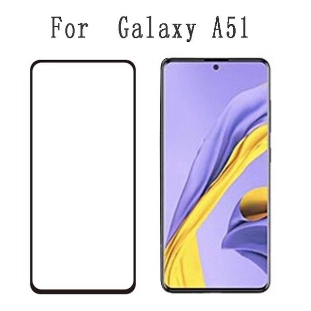 10 pçs capa completa de vidro temperado para samsung galaxy a51 a71 a91 a70s a50s m10s cola completa protetor de tela de vidro protetor