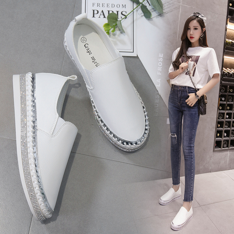 Summer brief casual small white shoes student flat loafers women crystal decoration leather canvas shoes breathable ballet flats