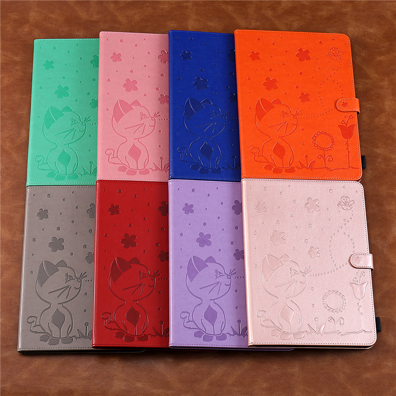 Embossing Cartoon iPad Cover A2232-Cover-Case A2198 Cat Apple for A2200 7th-Generation