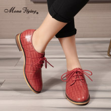 Mona Flying Oxfords Saddle Derby Womens Leather Shoes Casual Lace-up Crocodile Flats Fashion for Women Ladis 2020 New A068-E2