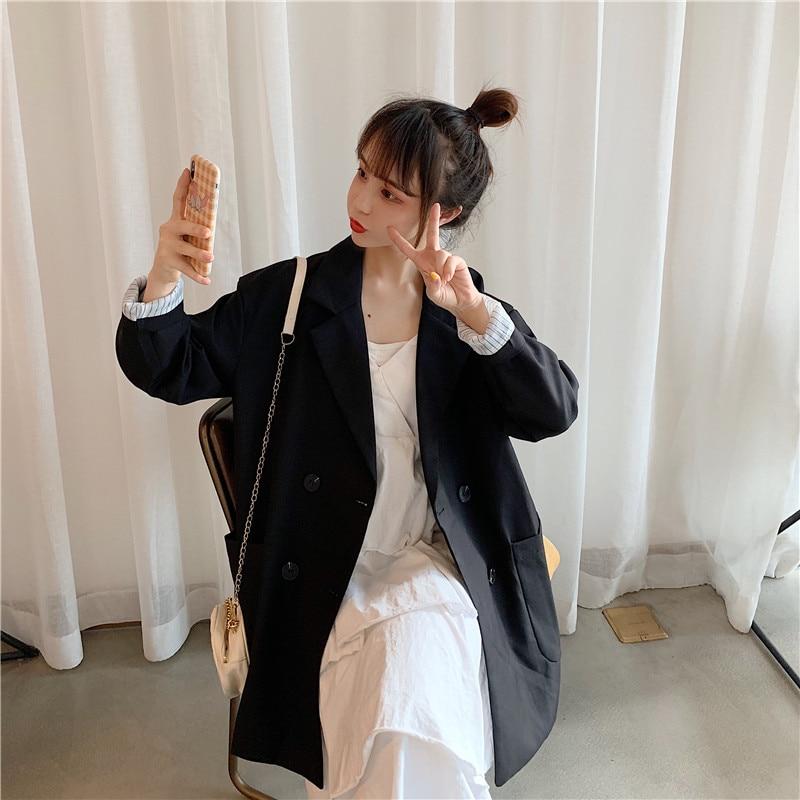 Plus Size 4XL Loose Double Breasted Women Black Blazer Pockets Jacket Female Retro Suits Coat Feminino OL Blazers Outerwear WB30