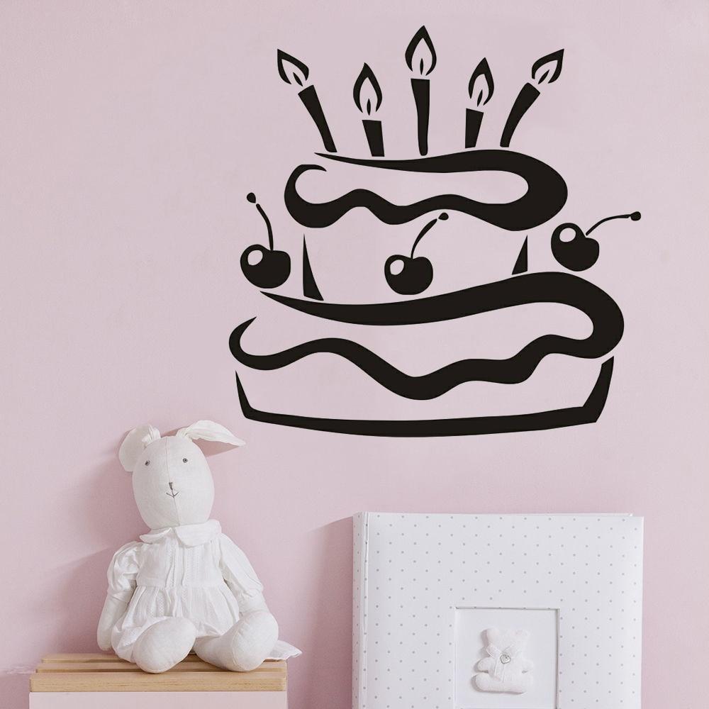 Magnificent Birthday Party Wall Sticker Kids Room Decoration Cherry Birthday Funny Birthday Cards Online Inifodamsfinfo