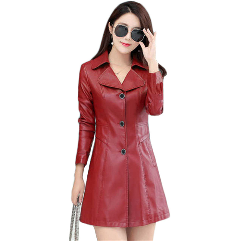 Faux   Leather   Coat Women Red Black Plus Size   Leather   Jackets 19 New Autumn Winter Korean Casual Long Slim Plus Cotton Coat LD1150