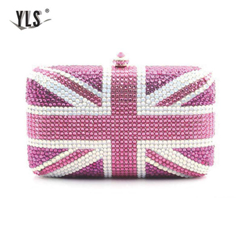 British Flag Pattern Handbag Bling Purse Women Party Night Club Evening Clutch Bag Luxury Silver Gold Diamond Torebka Damska фото