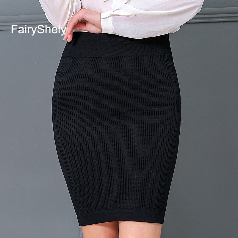 FairyShely 2019 Women Office Skirt Autumn Winter Sexy Warm Knitted Black Pencil Skirts Ladies Short Red High Waist Mini Skirt