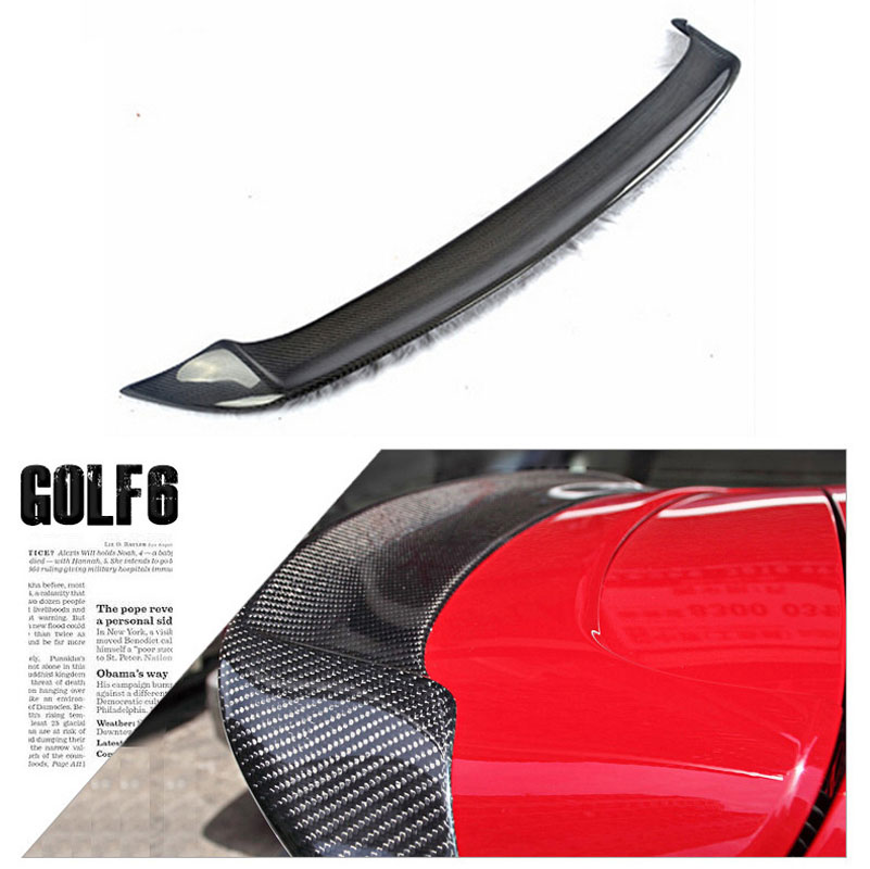 Sports Grade Cabon Fiber Rear Trunk Spoiler Boot Lip Wing For VolksWagen <font><b>Golf</b></font> 6 G TI <font><b>R</b></font> 2009-2012 image