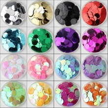 Sequin 10mm 15mm 20mm 25mm 30mm  PVC Flat Round Loose Sequins Paillettes Sewing Wedding Craft Accessories with 1 Side Hole 10g