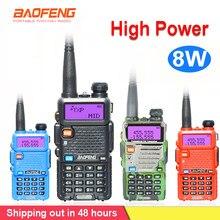 8w baofeng UV-5R walkie talkie comunicador em dois sentidos transceptor usb 5w vhf uhf portátil pofung uv 5r caça estação de rádio presunto