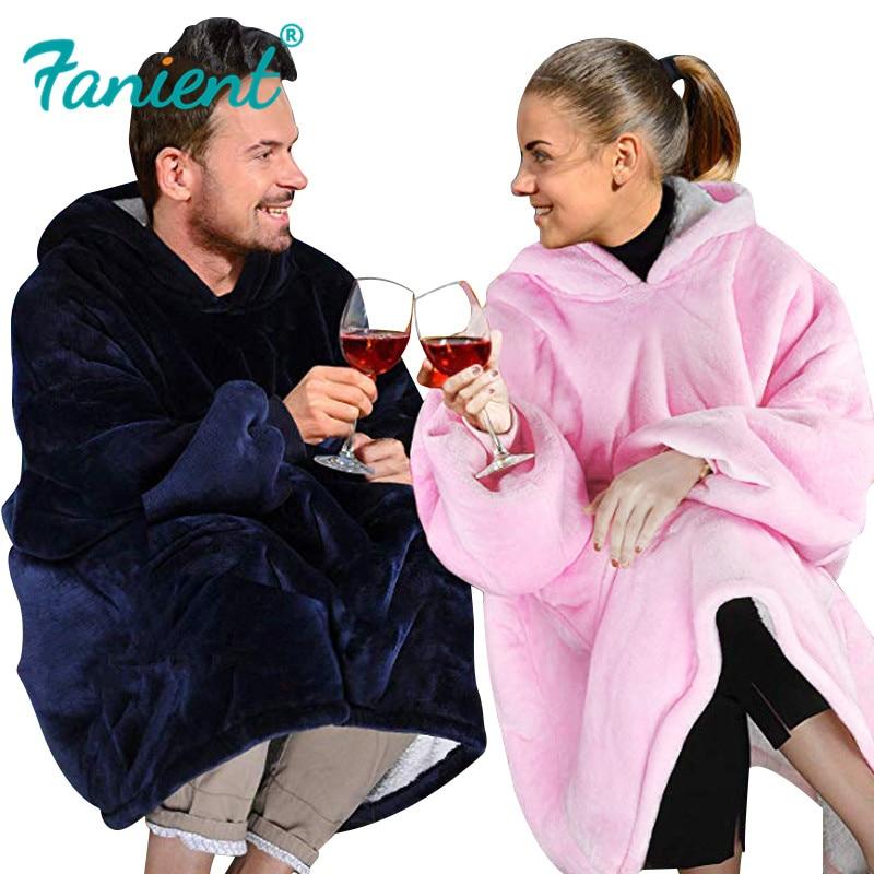 Women Oversized Hoodie Blanket Sweatshirt Coral Fleece Blanket Warm Winter Coat Ladies Giant Hoody Pullovers Sudadera Mujer 2019