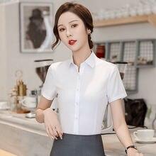 Короткий рукав женская рубашка slim fit пользовательские блузка