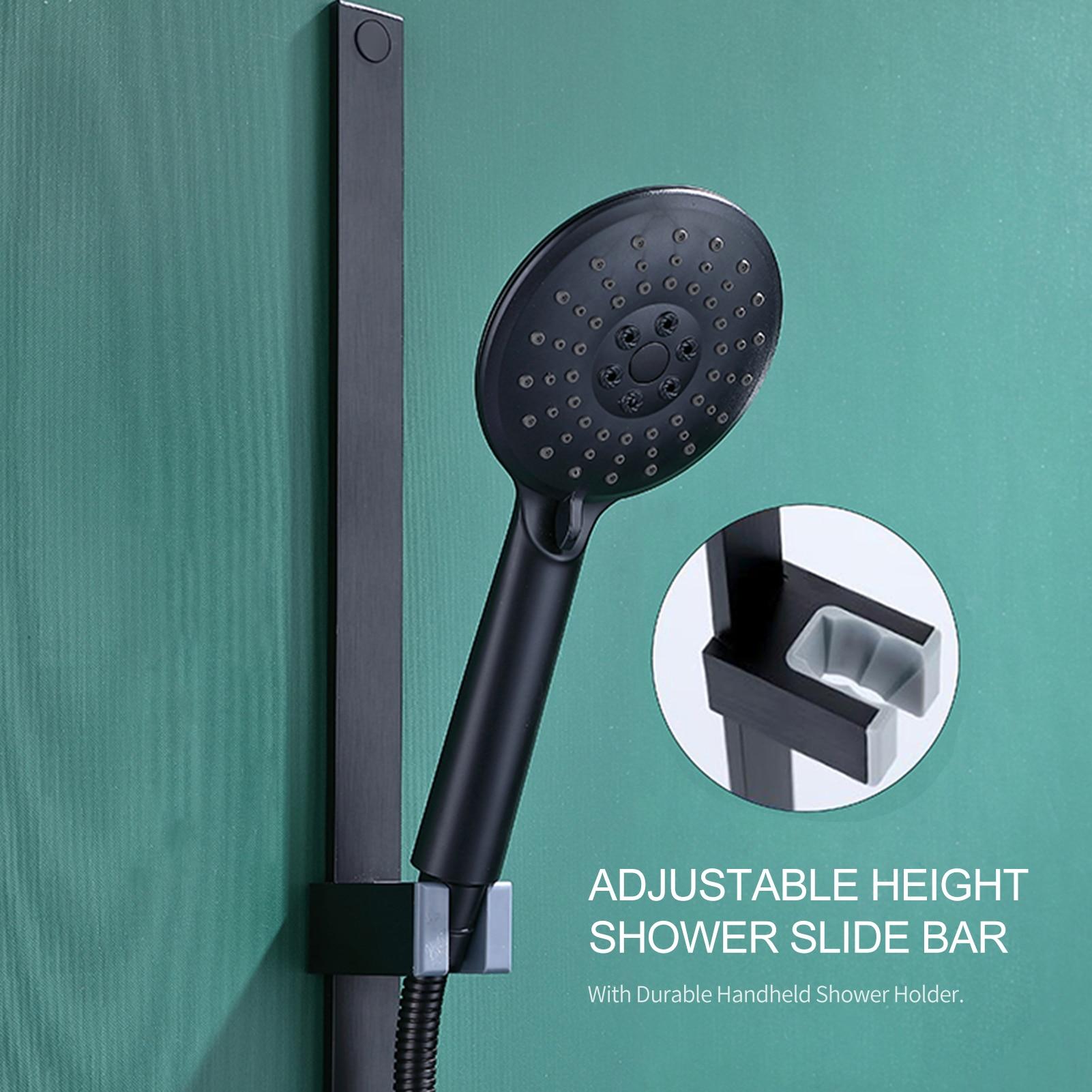 Sliding-Bar Shower-Bar Black Wall-Mounted Nail-Free Adjustable Minimalist-Style High-Quality