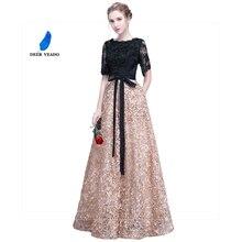 فساتين سهرة طويلة من DEERVEAO YS409 برقبة على شكل حرف A ورقبة مستديرة نصف كم فستان سهرة للنساء مناسبة للحفلات