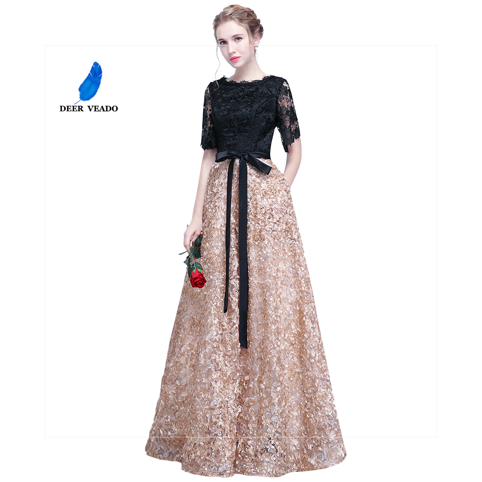 DEERVEAO YS409 Prom Dresses 2019 Long Vintage A Line O Neck Half Sleeves Evening Dress Women Occasion Party Dresses Gown