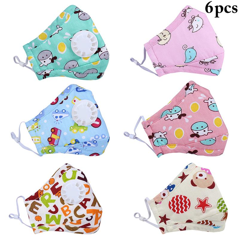 6pcs Kids Mouth Mask Cute Cartoon Pringting Dustproof Facial Mouth Mask Mouth Cover For Outdoor Random Color