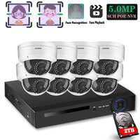 Vandal proof Dome POE IP Camera kit HD facial 8CH 5MP Wireless NVR Security CCTV System In/Outdoor IP66 Video Surveillance Kit