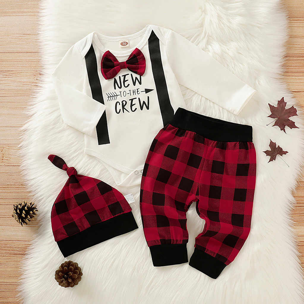 Kinder Kleidung Sets 2019 Neue Mode Neugeborenen Boy Herren Bogen Brief Romper Baby Plaid Hosen Hut Infant Outfits Set conjunto