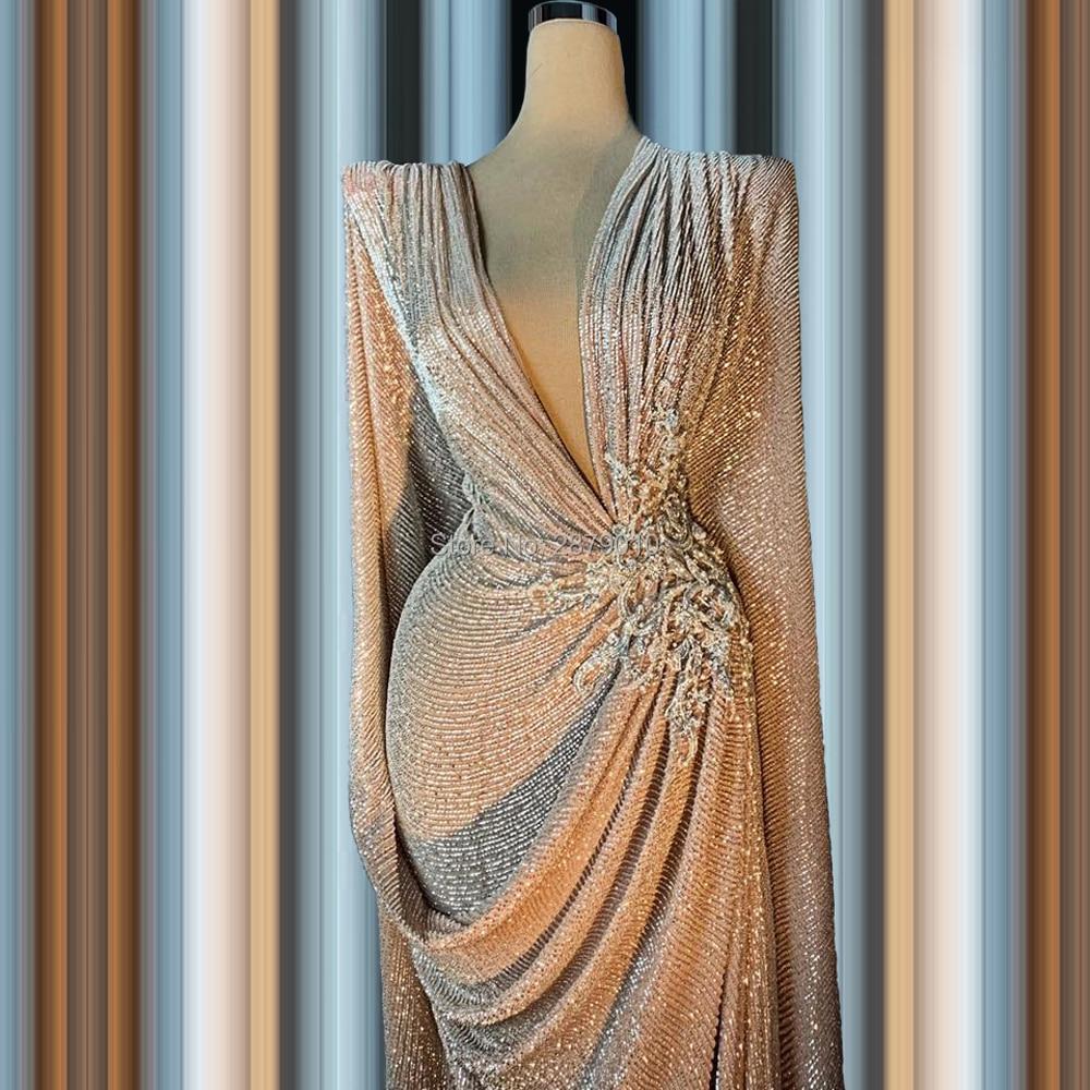 Vintage 2020 Elegant   Evening     Dress   Sheath Floor-Length Long Sleeves Applique Robe De Soiree Aibye Prom   Dress   Middle East Dubai