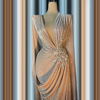 Vintage 2020 Elegant Evening Dress Sheath Floor Length Long Sleeves Applique Robe De Soiree Aibye Prom Dress Middle East Dubai