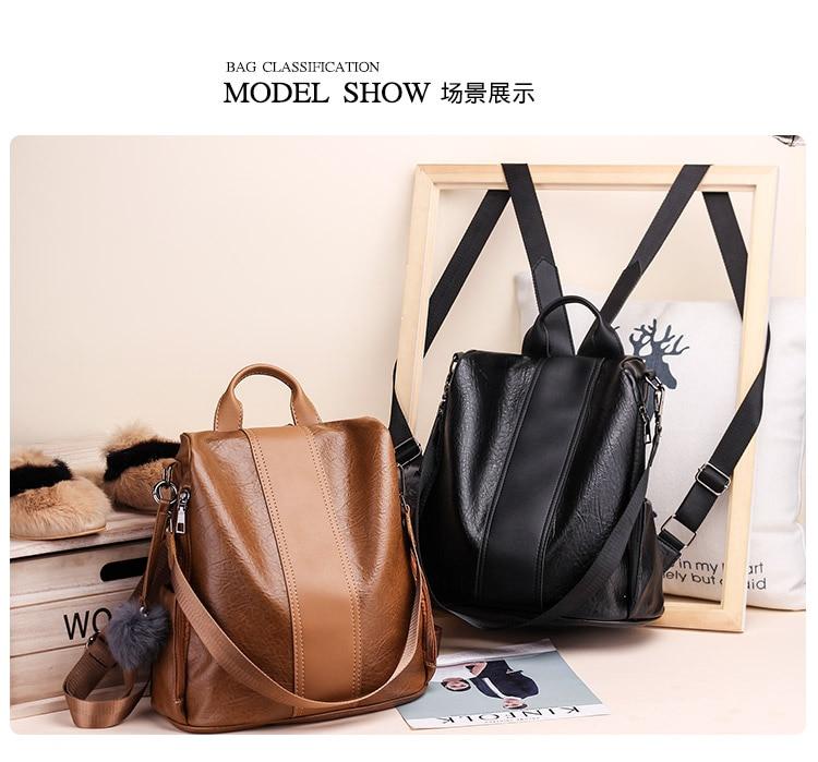 Haf470ba372f24d5ea5dd06a6c654ca4ak 2019 Women Leather Anti-theft Backpacks High Quality Vintage Female Shoulder Bag Sac A Dos School Bags for Girls Bagpack Ladies
