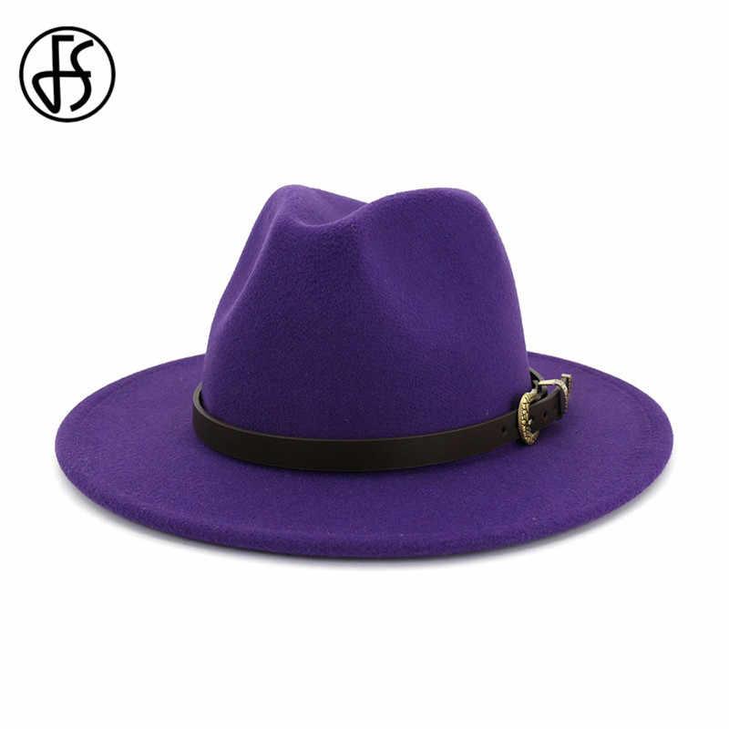 FS 2019 Baru Musim Dingin Wol Jazz Topi untuk Wanita Pria Sabuk Topi Fedora Gaya Inggris Musim Gugur Kuning Bulat Ungu topi 16 Warna